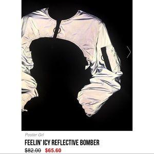 Dolls Kill Jackets & Coats - NWT Dollskill Poster Girl Reflective Bomber Jacket
